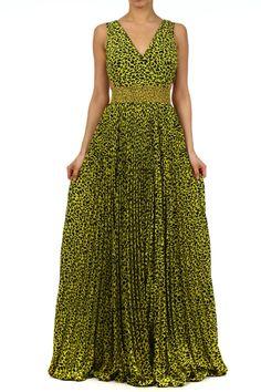 Lime Printed Sleeveless Full Length Dress With V-neck