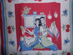 vintage linen DISH TOWEL with cherries  newlyweds by junquedujour
