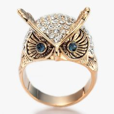 Czech Rhinestones Pave Dome Antique Owl Ring 18K Gold ($13) ❤ liked on Polyvore
