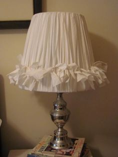 diy lamp shade ripped fabric & knots (could do this with cute ribbons as long as the ribbon is at least 1 inch wide)