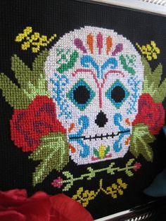 Pattern for Dia de los Muertos sugar skull needlepoint design.  $5.00 from ScarletPyjamas' Etsy site.