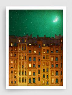 SALE, Paris illustration - Midnight in Paris - Fine art illustration,Fine art prints,Art Posters,Paris art,Paris decor,Wall art,Green,Orange