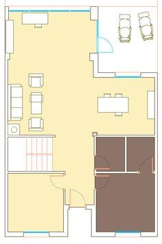 Opción 1, planta de distribución. La zona sombreada en oscuro corresponde a la posición actual de baño y cocina-despensa; se elimina el tabique de separación de salón con vestíbulo y se amplía el salón hacia el patio.