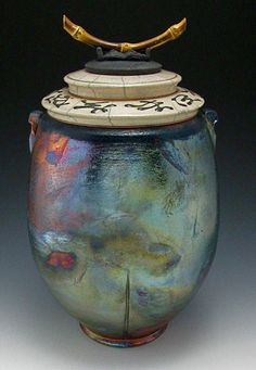 Raku Pottery | Raku Fired Vessel with Lid
