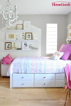Spark creativity with a whimsical bedroom makeover. Play with pops of color, a bit of glam and inspiring wall art for a retreat perfect for little and big girls!