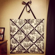 DIY memo board! {Use cork board/tiles or ceiling tiles covered with fabric, ribbon  buttons}