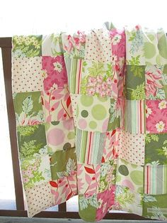 Minky Crib Quilt, Nicey Jane-quilts baby patchwork minky crib nursery decor fun modern fresh funky bedding southern charm girl nicey jane pink green white minky dot flowers floral heather bailey whimsical handmade