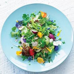 Edible Flowers!  How cute for a bridal shower luncheon or a bridesmaid luncheon.  We love the idea of this herb & pansy salad. So colorful!