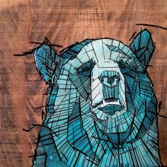 #blue #grizzly #bear #reclaimedwood #acrylic #painting #ink #art #sold Bear Illustration, Painted Letters, Geometric Art, Tag Art, Artsy Fartsy, Spiderman, Watercolors, Drawings, Artwork