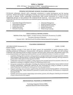 Secondary School Teacher Resume Example