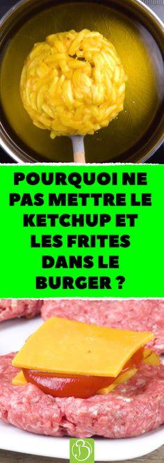 Pourquoi ne pas mettre le ketchup et les frites DANS le burger ? Une recette de hamburger maison au coeur surprenant ! #cuisine #frites #fromage #hamburger #pain #ingrédients #recette #viande