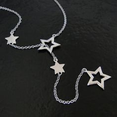 Silver Stars Lariat Necklace In Sterling Silver