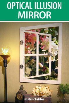 This optical illusion mirror makes it look like you are looking out an open window. #Instructables #home #decor #woodworking #workshop Mirror Illusion, Annie Sloan Graphite, Cheap Mirrors, Window Parts, Garden Mirrors, Wood Burner, Open Window, Mirror Work, Woodworking Workshop
