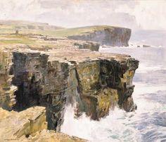 "Stanley Cursiter ""Waves breaking on Cliffs, Orkney"""