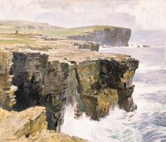"Stanley Cursiter ""Waves breaking on Cliffs, Orkney"""