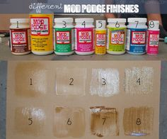 Original pin-Have you always wondered what the different finishes of Mod Podge looked like? Click picture to find out. - Click image to find more DIY & Crafts Pinterest pins.