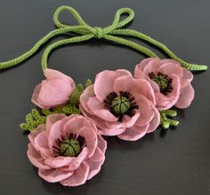The Friends - Pink - Handmade Poppy Flower Crochet Leaf Bib Necklace /Belt by jennysunny on Etsy
