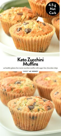 KETO ZUCCHINI MUFFINS are almond flour zucchini muffins with only g net carbs. Dairy Free Zucchini Muffins, Zucchini Chocolate Chip Muffins, Almond Flour Muffins, Sugar Free Chocolate Chips, Healthy Muffins, Keto Friendly Desserts, Low Carb Desserts, Low Carb Recipes, Dessert Recipes