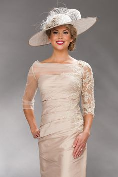 Long straight dress with lace sleeves 8724L - Catherines of Partick