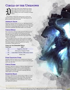 Homebrewing dnd Introducing the Circle of the Unknown: The druid that warships alien concepts of nature! Dungeons And Dragons Races, Dungeons And Dragons Classes, Dnd Dragons, Dungeons And Dragons Characters, Dungeons And Dragons Homebrew, Dnd Characters, Dnd Druid, Dnd Stories, Dnd Races