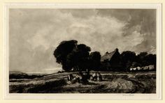 Cottage and Harvesters by Frank Short  Mezzotint, 1907, 169 x 276 mm., Hardie 88. Fine impression on chine-appliqué with large margins, signed in pencil and from an edition of 100 impressions. The work is after a watercolor by De Wint in the Tate Gallery.