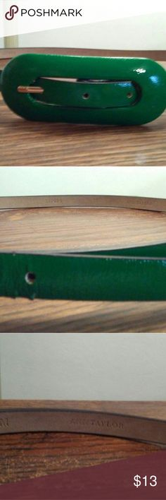 AT Kelly Green Belt Kelly green leather skinny belt with covered oval buckle. Pic 2 shows two nics. EUC Accessories Belts