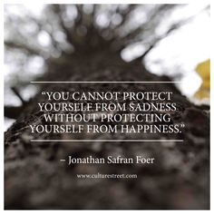 You cannot protect yourself from sadness without protecting yourself from happiness. - Jonathan Safran Foer