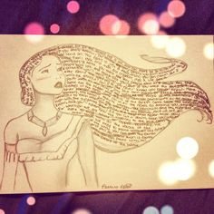 "This is really cool! The lyrics are part of the drawing! ""Can you paint with all the colors of the wind?"" Pocahontas"