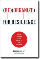 """Reorganize for Resilience - Ranjay Gulati    Strategy and organizational behavior expert Gulati reveals how """"resilient"""" companies—those that prosper both in good times and bad—are driving growth and increasing profitability by immersing themselves in the lives of their customers. Instead of pushing their offerings, these firms work from the outside-in: identifying current and potential customer problems and then providing seamless, integrated products and services that address them."""