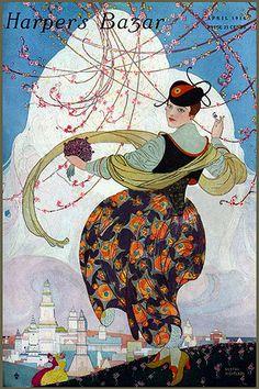 Vintage Harper's Bazar Magazine Cover-Spring on a Hill—1914, via finsbry