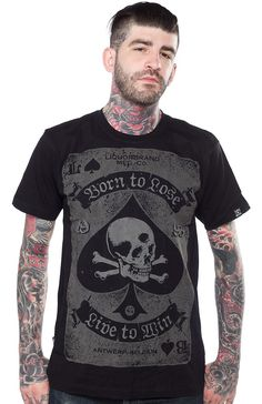 LIQUORBRAND DEATH SPADE T SHIRT You might be born to lose but you live to win! This T-shirt by Liquorbrand features the death card! A skull with crossbones inside of the ace of spades printed in gray on a black cotton t-shirt. $25.00 #liquorbrand #spades #skull