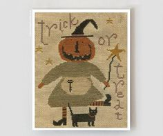 Tricks and Treats : With Thy Needle Country Stitches counted cross stitch patterns Brenda Gervais Halloween witch pumpkin hand embroidery by thecottageneedle