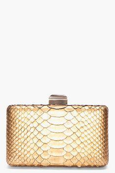 LANVIN Gold Python Skin Clutch