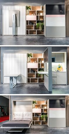 Multi-functional transformable furnishing by Clei #kitchen #design #savespace
