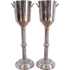 Pair Vintage Champagne Cooler on Stand Hotel Silver Plate Wine from stonehouseantiques on Ruby Lane Cooler Stand, Champagne Cooler, Wine Bucket, Vintage Champagne, Buckets, Ruby Lane, Silver Plate, Barware, Art Deco