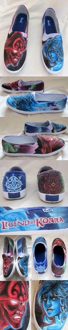 The Legend of Korra, Korra vs. Vaatu - Hand painted shoes by, Alicia Severson, best Christmas present ever!!