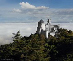 Pena National Palace without painting. Sintra, Portugal. https://victortravelblog.com/2015/01/05/fancy-pena-palace-in-fog-sintra-portugal/