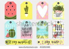 Summer set of sale and gift tags, labels with fun elements, hand drawn lettering and textures kit. Collection with palm tropical leaves, watermelon, banana, lemon, pineapple and much more.