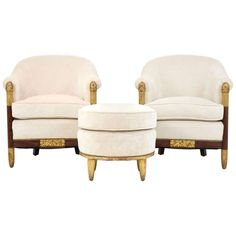 Pair of French Art Deco Barrel Back Chairs and Ottoman Attributed to Paul Follot For Sale