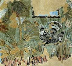 Ancient Egyptian Papyrus | Amarna art: a kingfisher amid papyrus plants | Egypt ancient and mo...