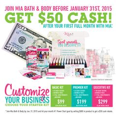 Stress less over holiday bills. Become a Mia Bath & Body Consultant in December, sell $800 by the end of January and get an extra $50 as a kit rebate! Contact a Mia Consultant for details.