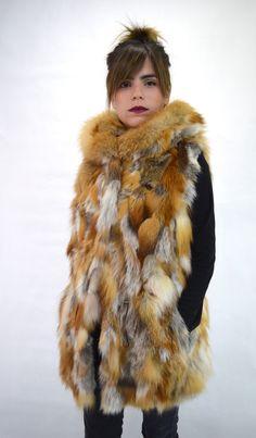 Real fur vest red fox fur Canadian red fox fur hooded by BeFur