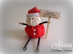 Santa Claus Shelf Sitter with Wooden Merry Christmas Sign. Ornament. Shelf Ornament. by AdrianaJewelryDesign on Etsy