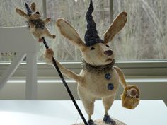 """Barnaby - 10"""" Prim Vintage Inspired Handmade/painted Clay Bunny Rabbit signed…"""