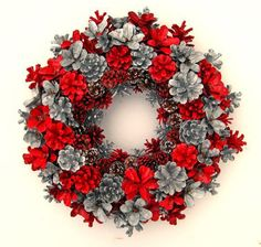 This pine cone wreath is crafted from pine cones that have been collected and painted by hand. Completely one of a kind. Approximately 15 inches in diameter. Variety of uses including a wall hanging, center piece, etc. Not recommended for outdoor use. Pine Cone Art, Pine Cone Crafts, Wreath Crafts, Diy Wreath, Christmas Projects, Christmas Crafts, Christmas Ornaments, Christmas Christmas, Primitive Christmas