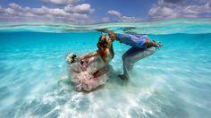 Mermaid bride fulfills dream to get married in the ocean