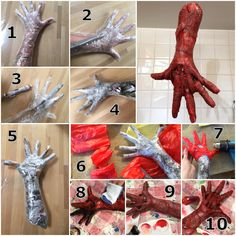 DIY Halloween skinned hands - used packing tape, newspapers, red garbage bags, heatgun, acrylic paint and clear glue with red food coloring for blood.
