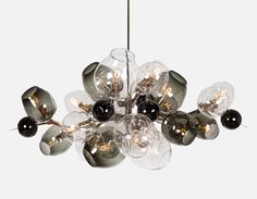 Lindsey Adelman Studio Custom Burst chandelier in Polished Nickel. Photo by Lauren Coleman