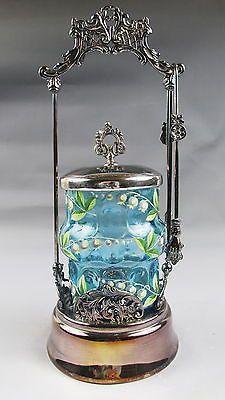 C1890 Victorian Pickle Castor Blue Insert w Enamel Silverplate Frame | eBay