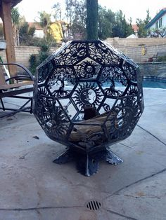 3d fire pit firepit fireplace fire place made from cnc cut steel octagon plates welded together into a ball. Pic 4